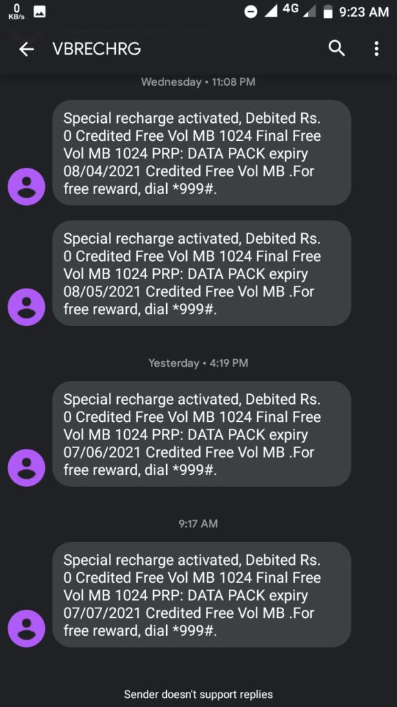 Idea free data recharge