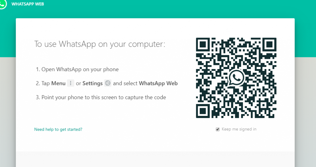 WhatsApp web QR code on desktop